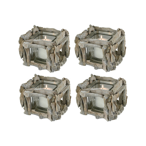 396168/S4 Edgewood Square Votive Clear, Weathered Grey