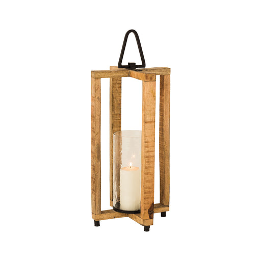 404665 Bradshaw Lantern Grey, Natural Mango Wood