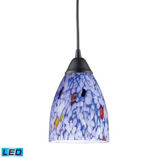 ELK Lighting 406-1BL-LED 1 Light Pendant In Dark Rust And Starlight Blue Glass Dark Rust Free Parcel Delivery