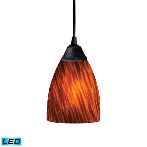 ELK Lighting 406-1ES-LED 1 Light Pendant In Dark Rust And Espresso Glass Dark Rust Free Parcel Delivery
