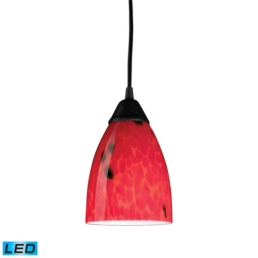 ELK Lighting 406-1FR-LED 1 Light Pendant In Dark Rust And Fire Red Glass Dark Rust Free Parcel Delivery