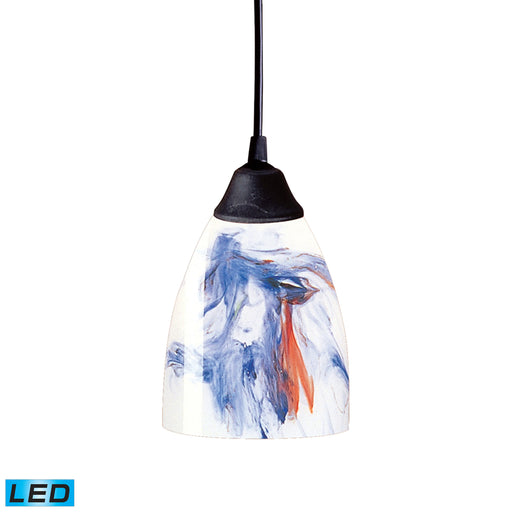 ELK Lighting 406-1MT-LED 1 Light Pendant In Dark Rust And Mountain Glass Dark Rust Free Parcel Delivery