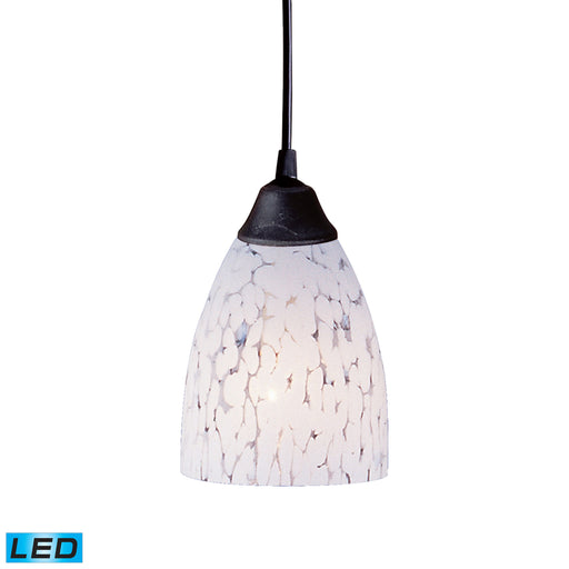 ELK Lighting 406-1SW-LED 1 Light Pendant In Dark Rust And Show White Glass Dark Rust Free Parcel Delivery