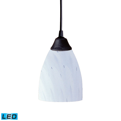 ELK Lighting 406-1WH-LED 1 Light Pendant In Dark Rust And Simply White Glass Dark Rust Free Parcel Delivery