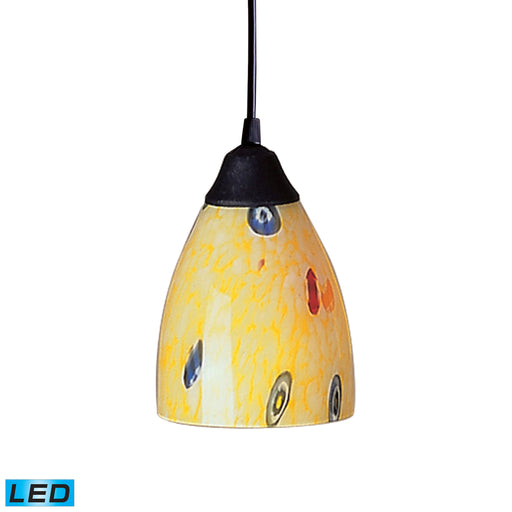 ELK Lighting 406-1YW-LED 1 Light Pendant In Dark Rust And Yellow Blaze Glass Dark Rust Free Parcel Delivery