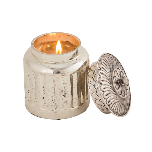 447310 Evlyn Filled Candle Antique Silver