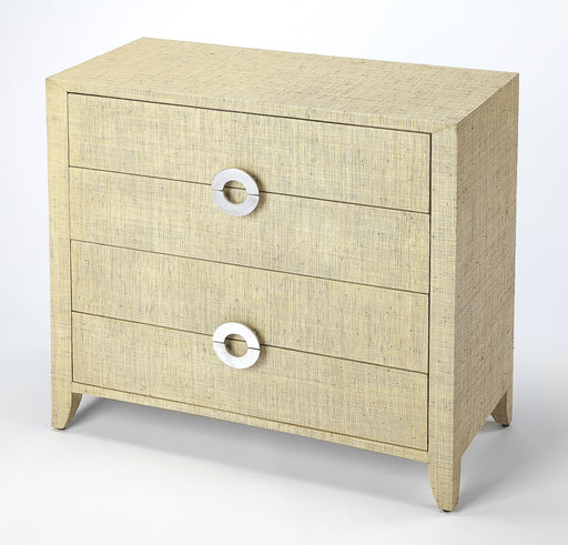 Amelle Cream Raffia 4 Drawer Accent Chest