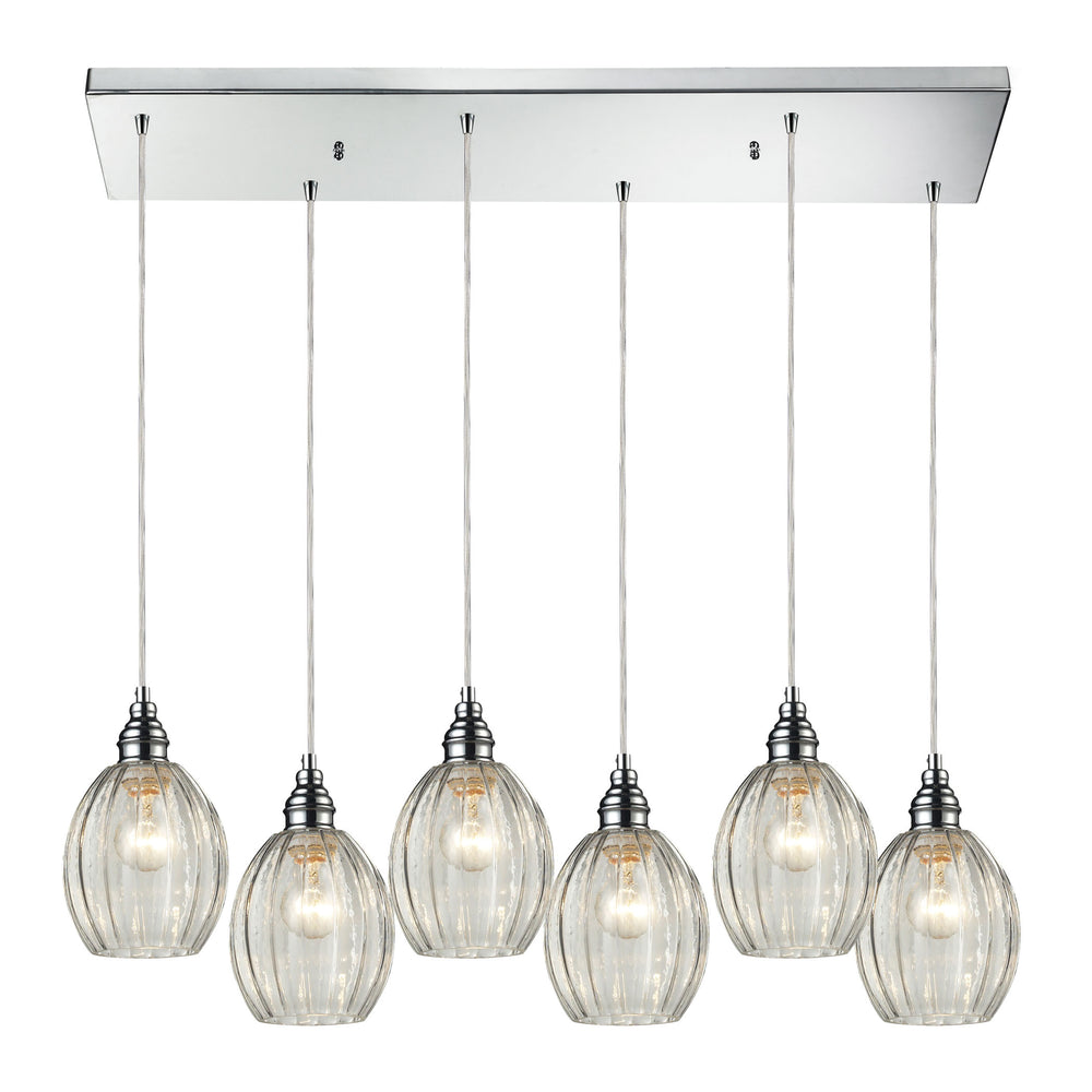ELK Lighting 46017/6RC Danica 6 Light Pendant In Polished Chrome And Clear Glass Polished Chrome Free Parcel Delivery
