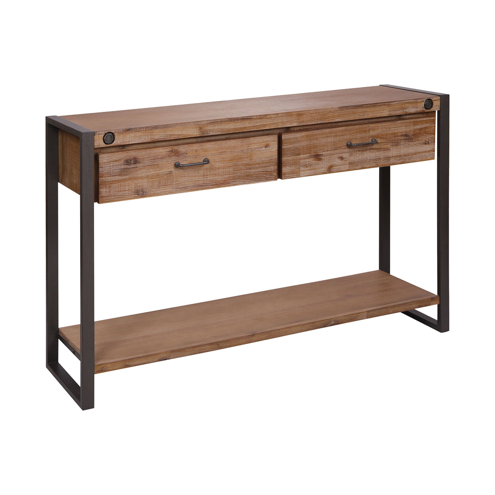 479-031 Armour Square Two-Drawer Console Table Kara Brushed Saw Cut Wood, Grey Bronze Metal