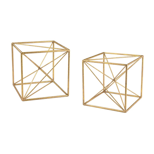 51-017/S2 Angular Study Decor - Set Of 2 Gold