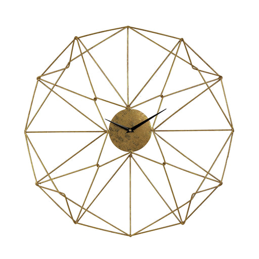 51-029 Angular Wirework Wall Clock Gold