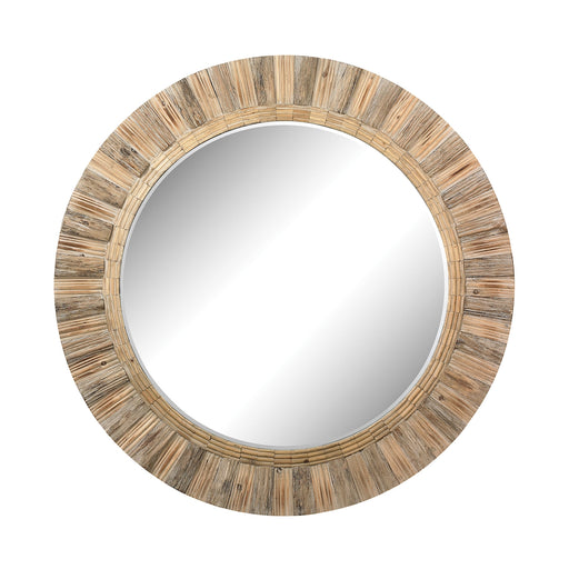 51-10163 Oversized Round Wood Mirror Natural Drift Wood