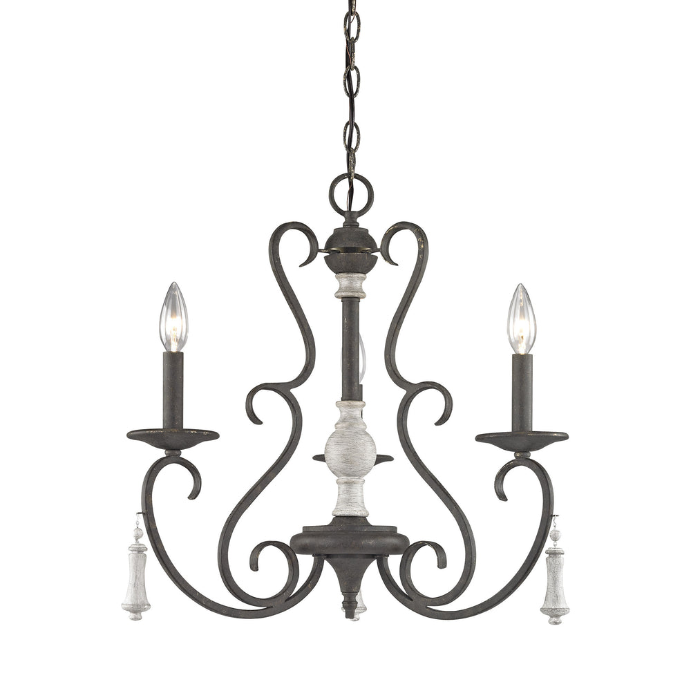 ELK Lighting 52021/3 Porto Cristo 3 Light Chandelier In Palermo Rust With Birch Accents Birch, Palermo Rust Free Parcel Delivery