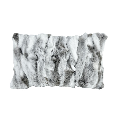 5227-009 Heavy Petting Genuine Rabbit Fur Accent Pillow In Grey And White White, Grey