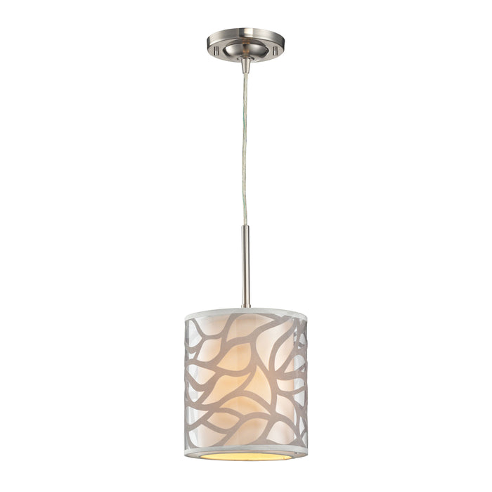 ELK Lighting 53000/1 Autumn Breeze 1 Light Mini Pendant In Brushed Nickel Brushed Nickel Free Parcel Delivery