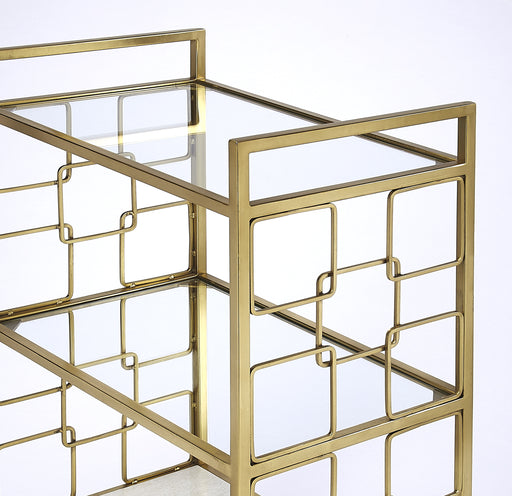 Arcadia Polished Gold Bar Cart