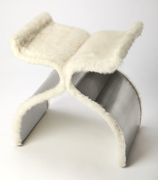 Chalice Faux Fur & Silver Stool