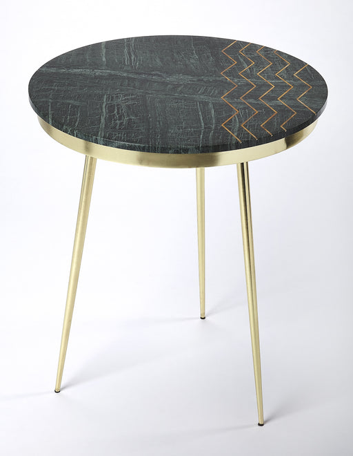 Hollings Green Marble & Brass Accent Table
