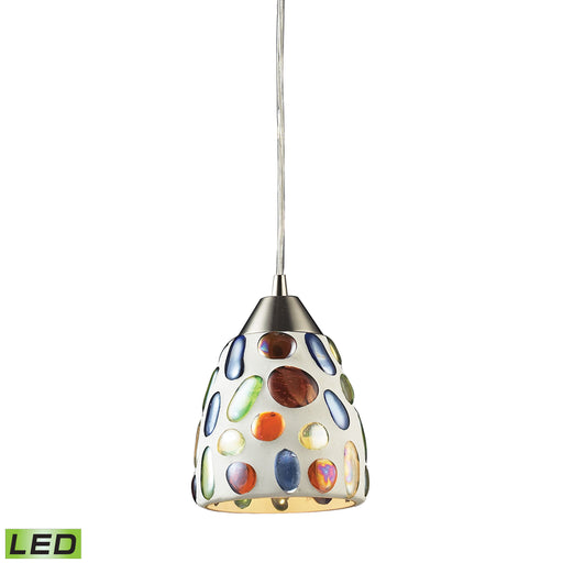 ELK Lighting 542-1-LED 1 Light Gemstone Pendant With Satin Nickel Hardware Satin Nickel Free Parcel Delivery