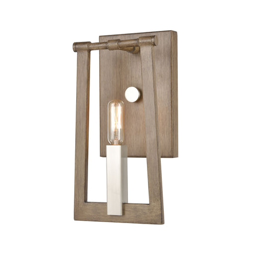 ELK Lighting 55050/1 Axis 1 Light Sconce In Light Wood Light Wood, Satin Nickel Free Parcel Delivery