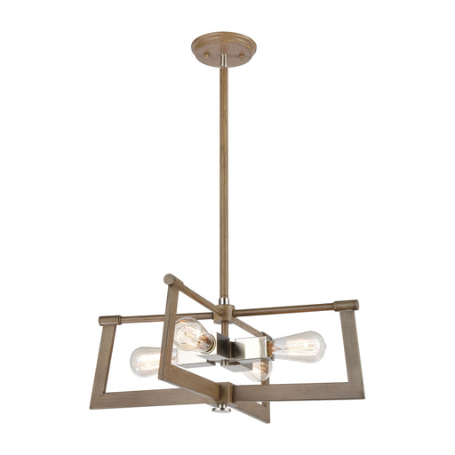 ELK Lighting 55051/4 Axis 4 Light Pendant In Light Wood Light Wood, Satin Nickel Free Parcel Delivery