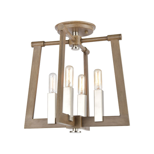 ELK Lighting 55052/4 Axis 4 Light Pendant In Light Wood Light Wood, Satin Nickel Free Parcel Delivery