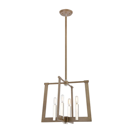 ELK Lighting 55053/4 Axis 4 Light Pendant In Light Wood Light Wood, Satin Nickel Free Parcel Delivery