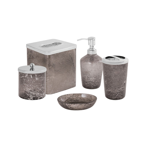 556388 Sablecrest 5 Piece Bath Collection Smoke Artifact, Stainless Steel