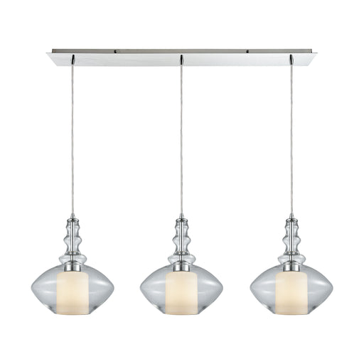 ELK Lighting 56500/3LP Alora 3 Light Linear Pan Pendant In Polished Chrome With Opal White Glass Inside Clear Glass Polished Chrome Free Parcel Delivery