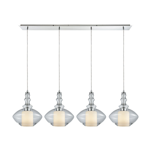 ELK Lighting 56500/4LP Alora 4 Light Linear Pan Pendant In Polished Chrome With Opal White Glass Inside Clear Glass Polished Chrome $199 Threshold Delivery