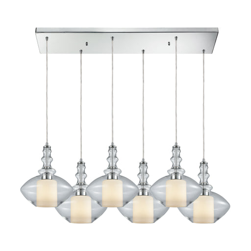 ELK Lighting 56500/6RC Alora 6 Light Rectangle Pendant In Polished Chrome With Clear Glass Polished Chrome Free Parcel Delivery