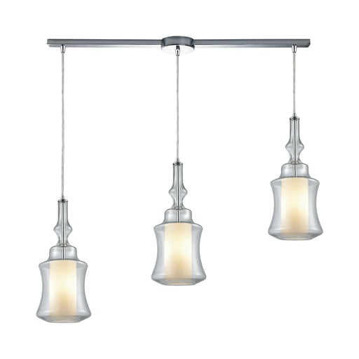 ELK Lighting 56501/3L Alora 3 Light Linear Bar Pendant In Polished Chrome With Opal White Glass Inside Clear Glass Polished Chrome Free Parcel Delivery