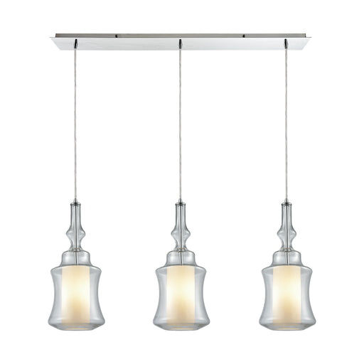 ELK Lighting 56501/3LP Alora 3 Light Linear Pan Pendant In Polished Chrome With Opal White Glass Inside Clear Glass Polished Chrome Free Parcel Delivery
