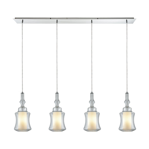 ELK Lighting 56501/4LP Alora 4 Light Linear Pan Pendant In Polished Chrome With Opal White Glass Inside Clear Glass Polished Chrome $199 Threshold Delivery
