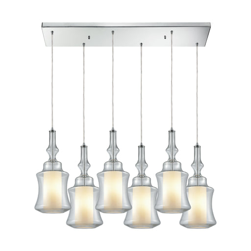 ELK Lighting 56501/6RC Alora 6 Light Rectangle Pendant In Polished Chrome With Opal White Glass Inside Clear Glass Polished Chrome Free Parcel Delivery