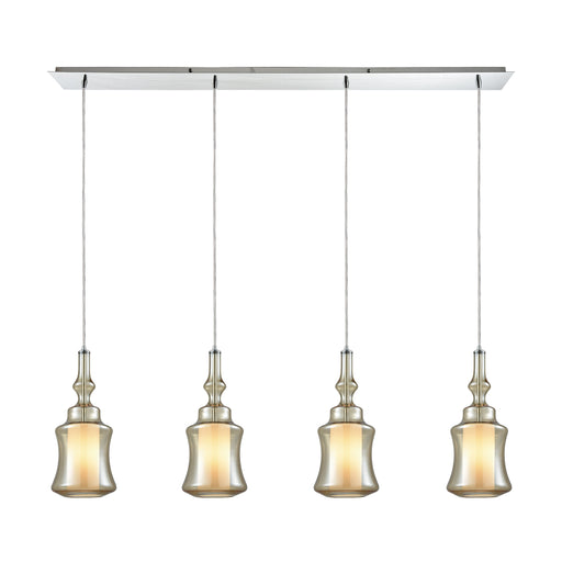 ELK Lighting 56502/4LP Alora 4 Light Linear Pan Pendant In Polished Chrome With Opal White Glass Inside Champagne Plated Glass Polished Chrome Free Threshold Delivery