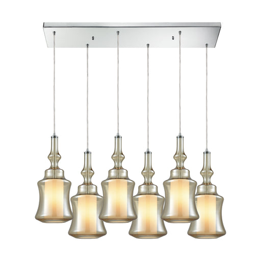 ELK Lighting 56502/6RC Alora 6 Light Rectangle Pendant In Polished Chrome With Champagne Glass Polished Chrome Free Parcel Delivery