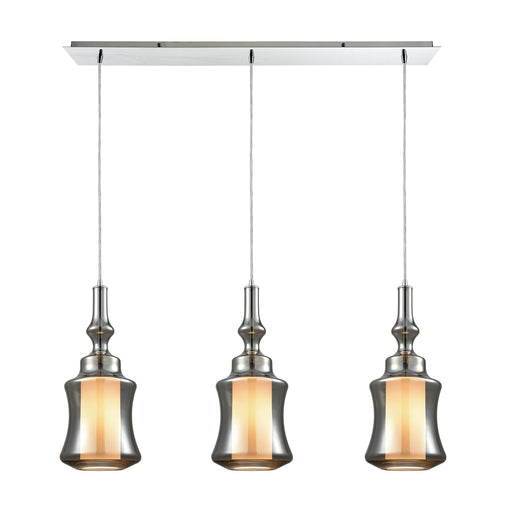 ELK Lighting 56503/3LP Alora 3 Light Linear Pan Pendant In Polished Chrome With Opal White Glass Inside Smoke Plated Glass Polished Chrome Free Parcel Delivery