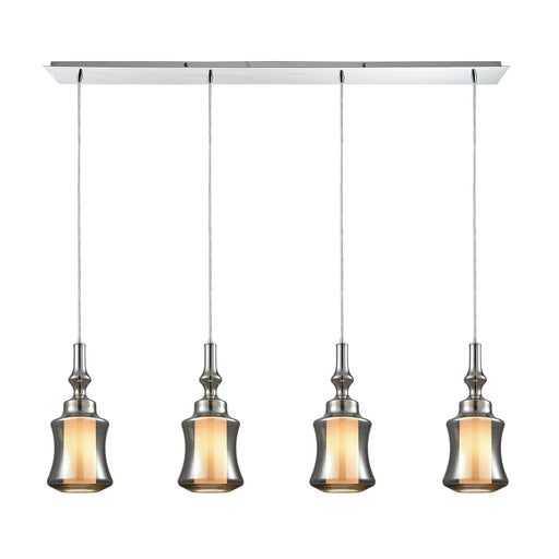 ELK Lighting 56503/4LP Alora 4 Light Linear Pan Pendant In Polished Chrome With Opal White Glass Inside Smoke Plated Glass Polished Chrome Free Threshold Delivery