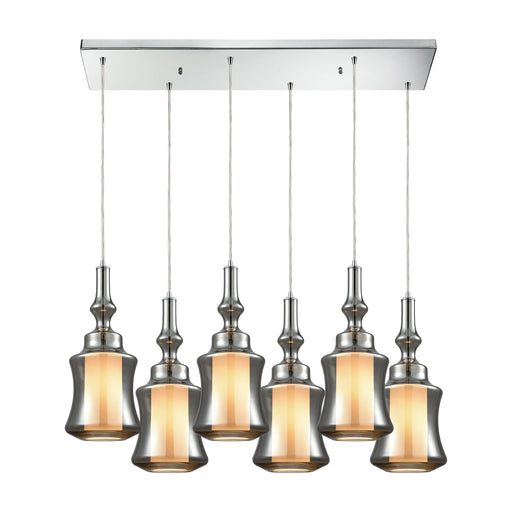 ELK Lighting 56503/6RC Alora 6 Light Rectangle Pendant In Polished Chrome With Smoke Glass Polished Chrome Free Parcel Delivery