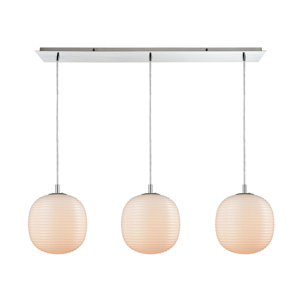 ELK Lighting 56560/3LP Beehive 3 Light Linear Pan Pendant In Polished Chrome With Opal White Beehive Glass Polished Chrome Free Parcel Delivery