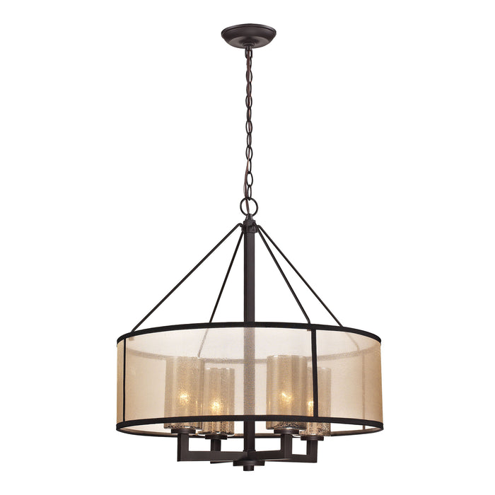 ELK Lighting 57027/4 Diffusion Collection 4 Light Chandelier In Oil Rubbed Bronze Oil Rubbed Bronze Free Parcel Delivery