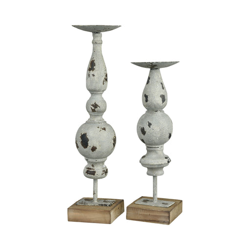 573743 Arlo Set of 2 Candle Holders Antique Grey
