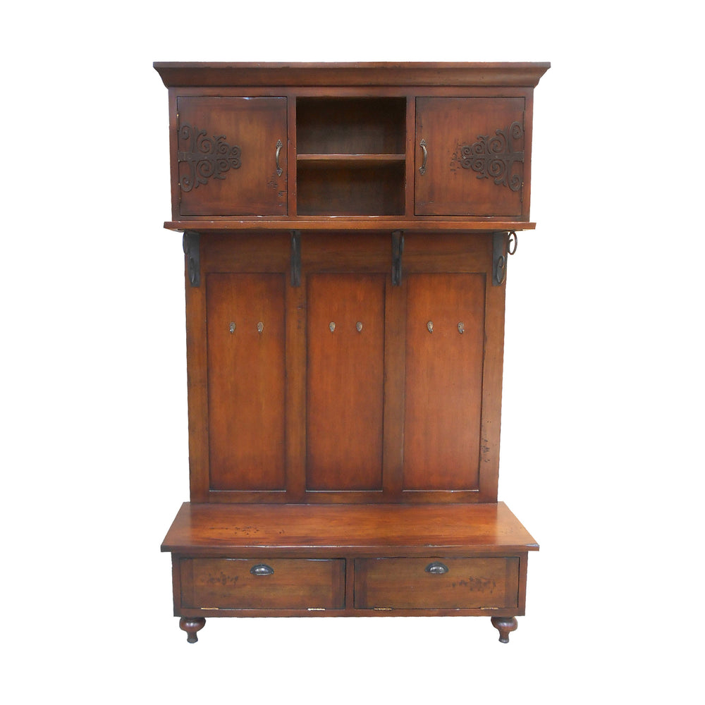 604009G Scrolled Iron Hall Cabinet Hand-Painted Wood Tone