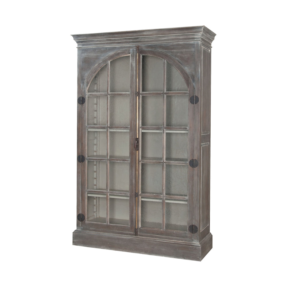 605007WG-1 Manor Arched Door Display Cabinet Manor Griege, Waterfront Grey Stain, Whitewash