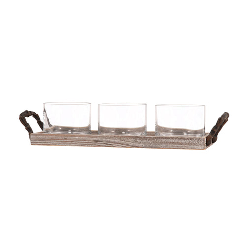 608506 Champagne Tidbit Tray Ashwood, Clear, Rustic