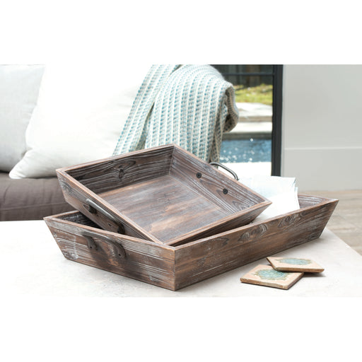 609589 Americana Set of 2 Deep Trays Antique Palonia, Canyon Rustic