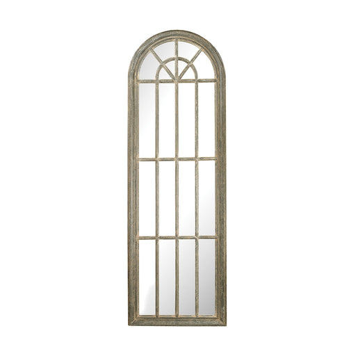 6100-007 Full Length Arched Window Pane Mirror Grey Whitewash