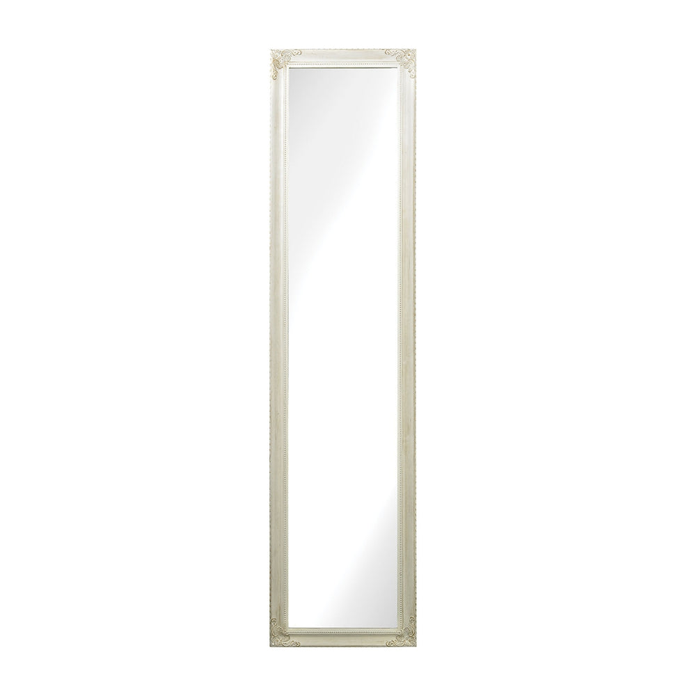 6100-015 Masalia Floor Mirror In Antique White Antique White
