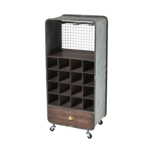 610004 Brookdale Wine Cart Grey, Roast